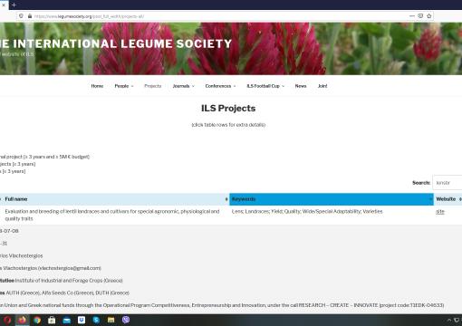 Το Lensbreed στην επίσημη ιστοσελίδα της International Legume Society